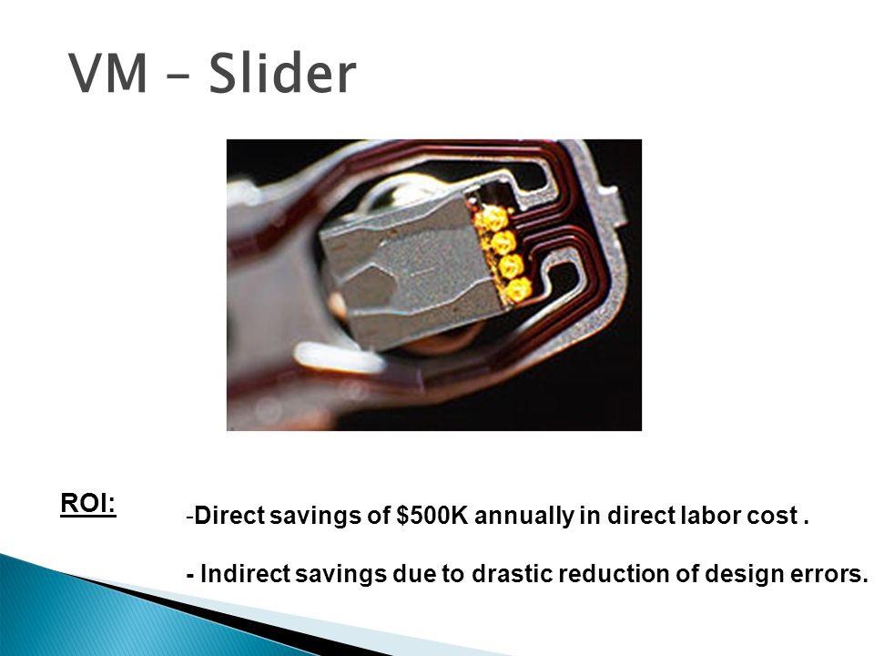 VM – Slider Design. ROI: Direct savings of $500K annually in direct labor cost .