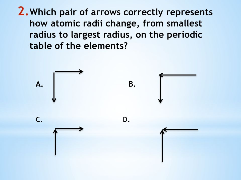 Warm up answer 1 3 on ch 84 notes ppt video online download which pair of arrows correctly represents how atomic radii change from smallest radius to largest urtaz Gallery