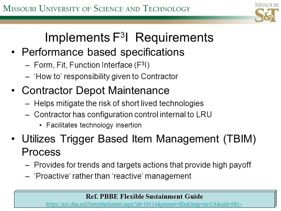 Implements F3I Requirements