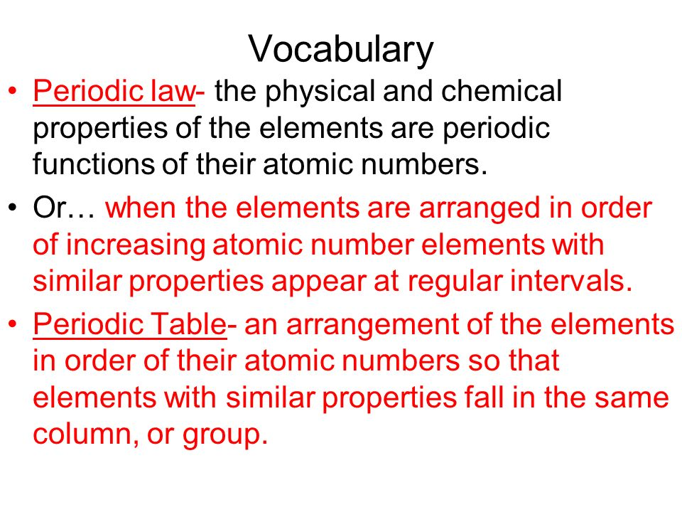 Chapter 5 in a nutshell ppt download vocabulary periodic law the physical and chemical properties of the elements are periodic functions of urtaz Gallery