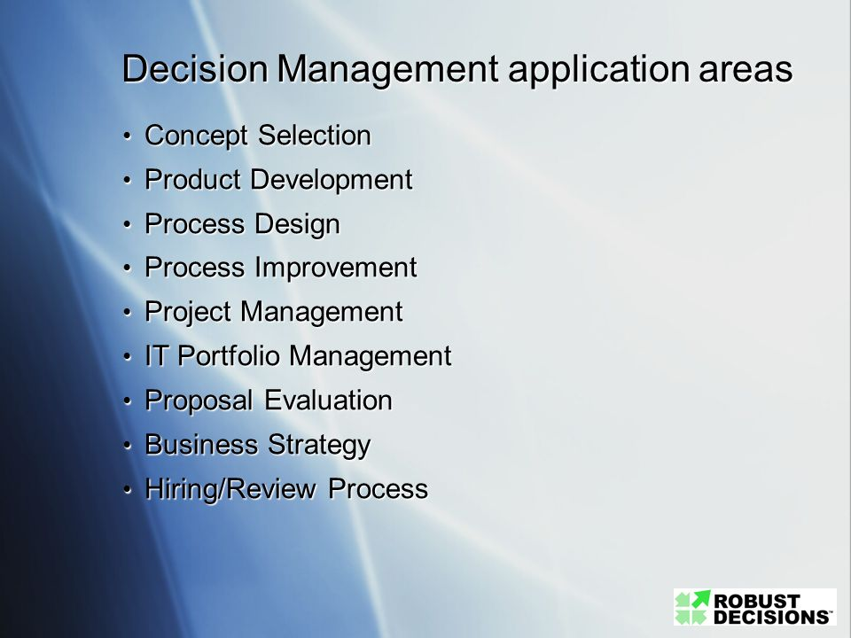 Decision Management application areas