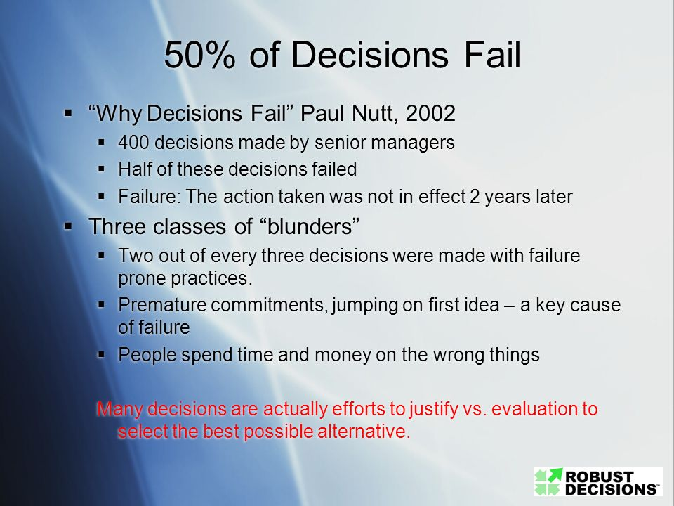 50% of Decisions Fail Why Decisions Fail Paul Nutt, 2002