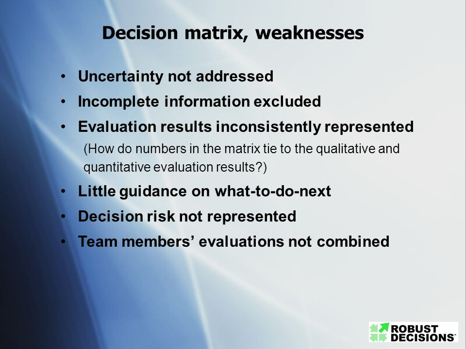 Decision matrix, weaknesses