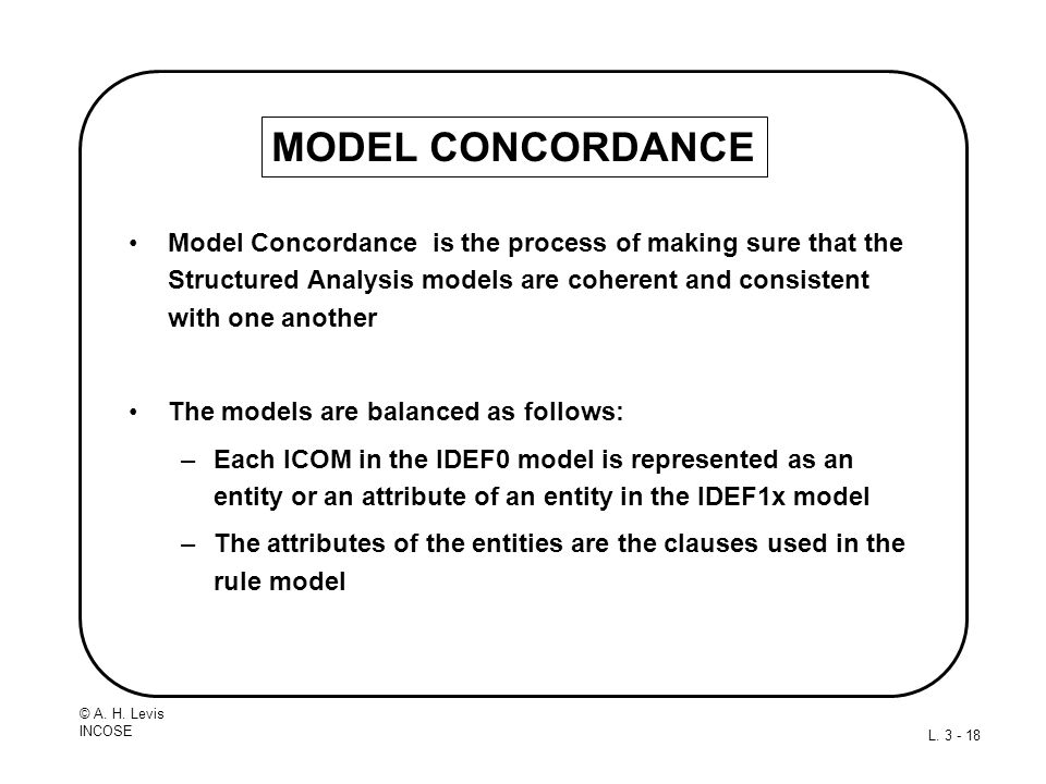 MODEL CONCORDANCE Model Concordance is the process of making sure that the Structured Analysis models are coherent and consistent with one another.