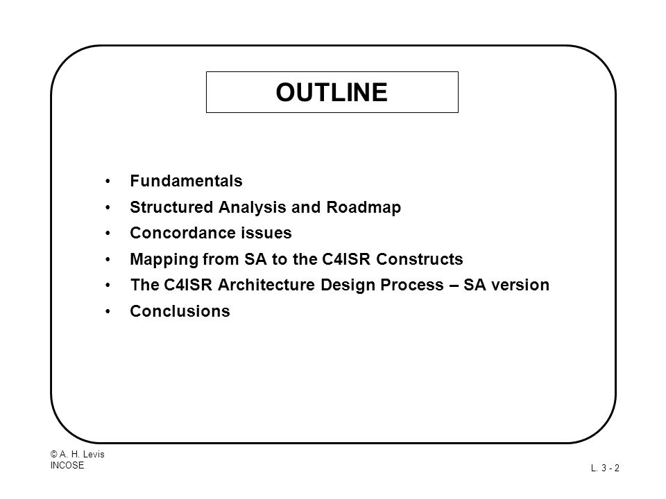 OUTLINE Fundamentals Structured Analysis and Roadmap
