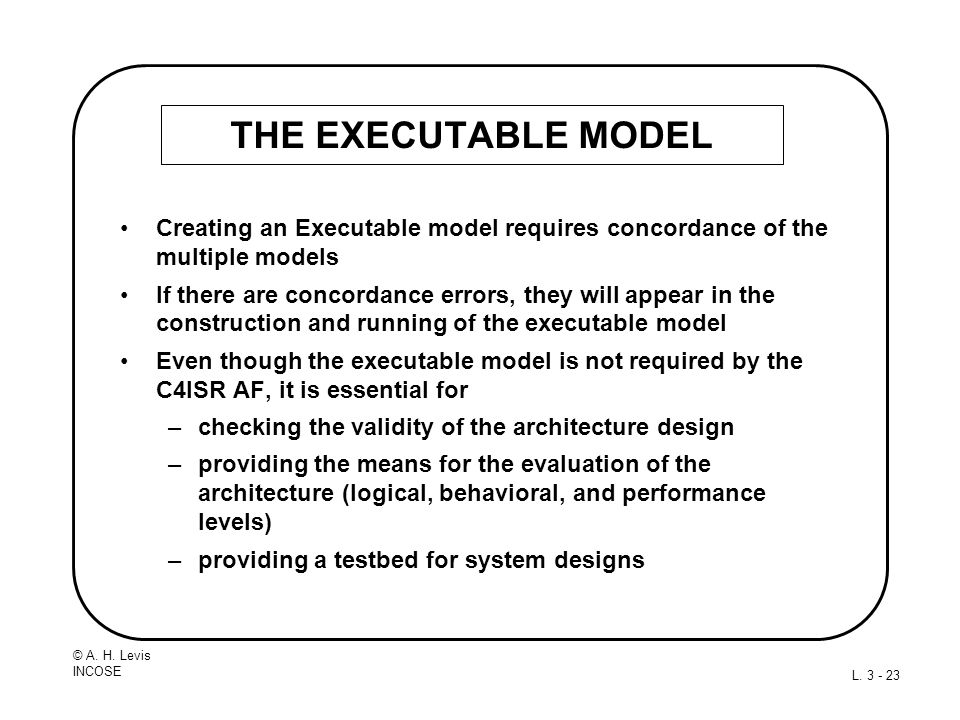 THE EXECUTABLE MODEL Creating an Executable model requires concordance of the multiple models.