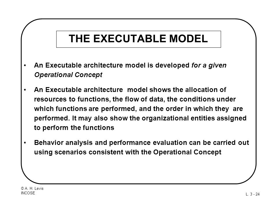 THE EXECUTABLE MODEL An Executable architecture model is developed for a given Operational Concept.