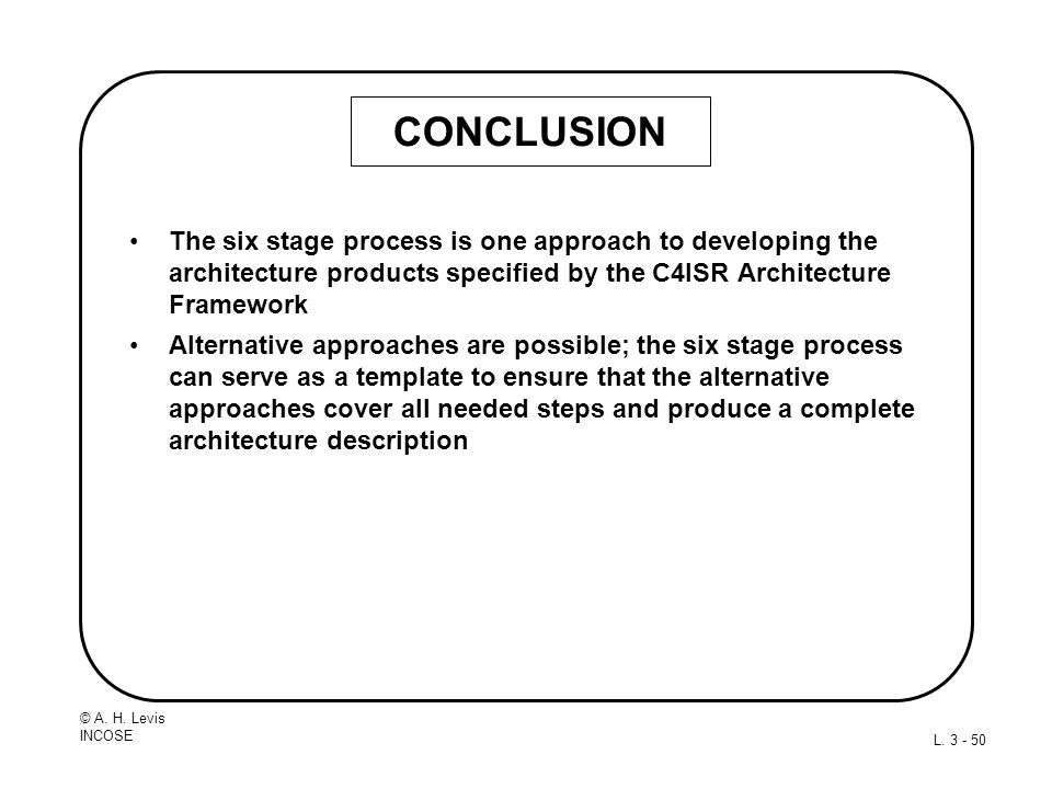 CONCLUSION The six stage process is one approach to developing the architecture products specified by the C4ISR Architecture Framework.