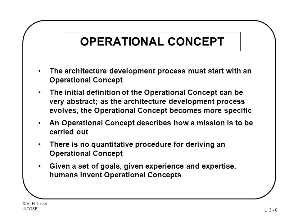 OPERATIONAL CONCEPT The architecture development process must start with an Operational Concept.