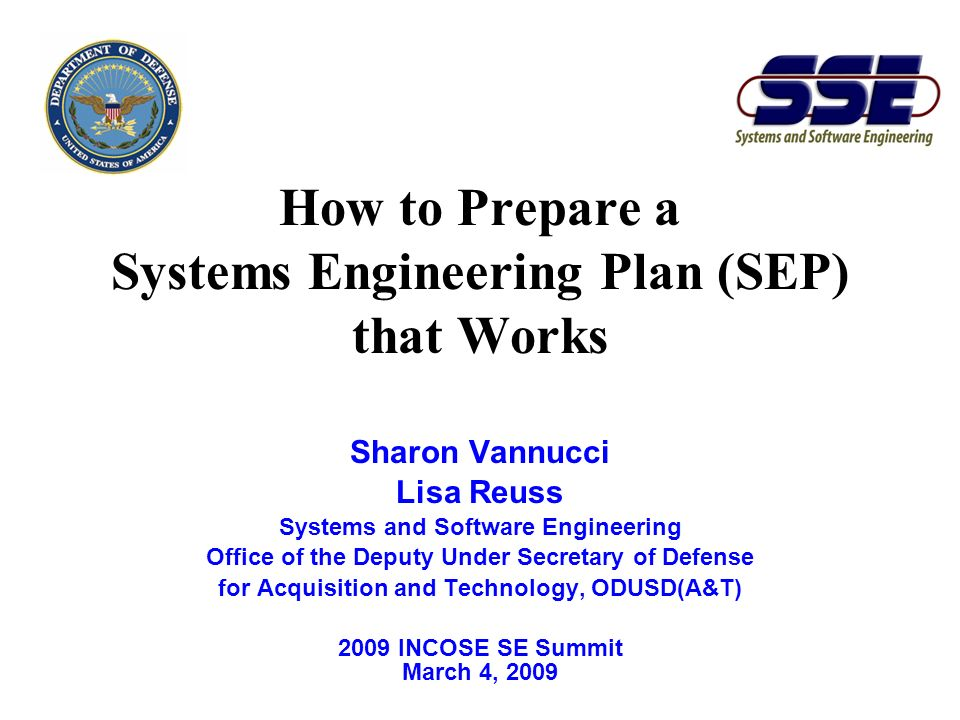 How to Prepare a Systems Engineering Plan (SEP) that Works