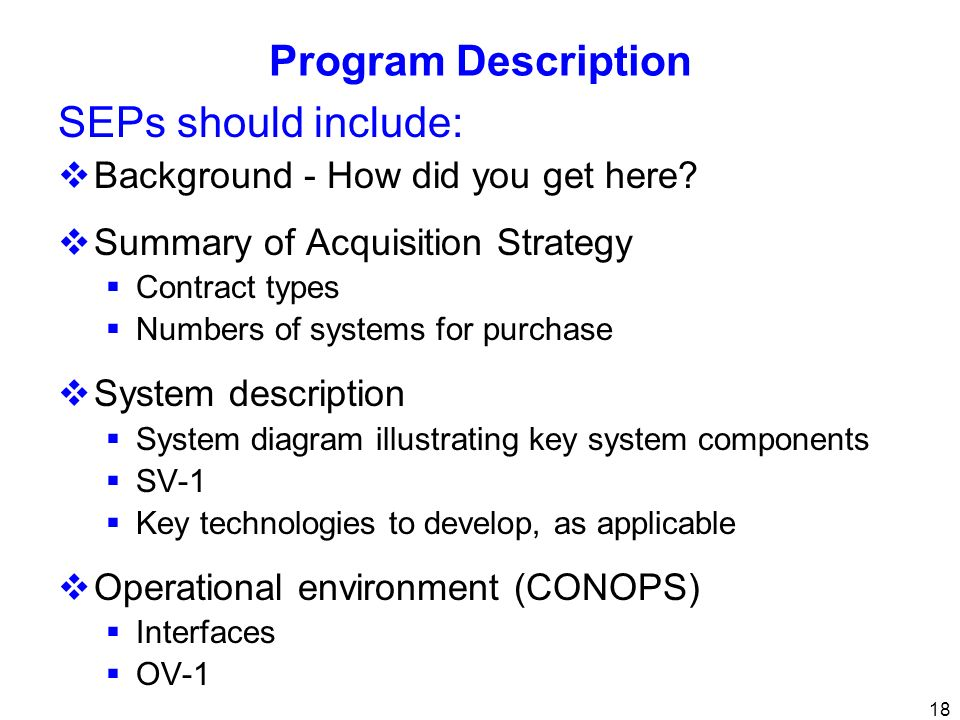 Program Description SEPs should include:
