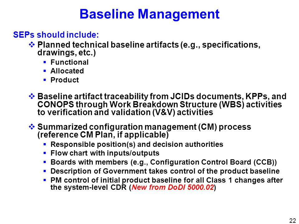Baseline Management SEPs should include: