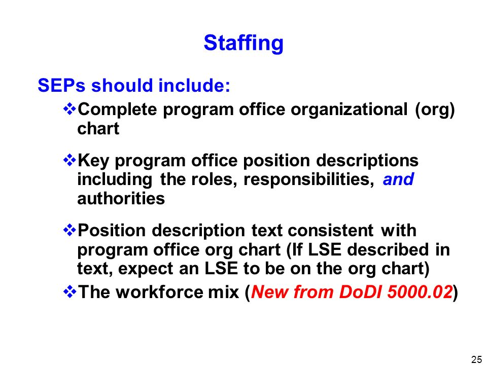 Staffing SEPs should include: