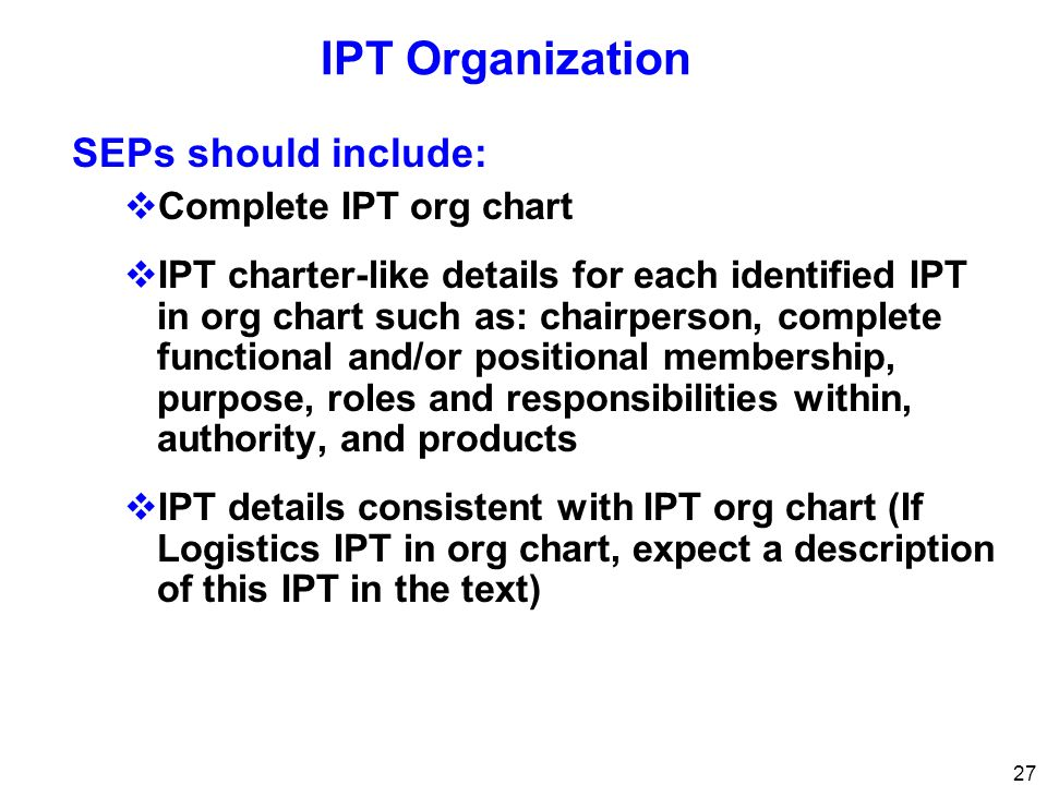 IPT Organization SEPs should include: Complete IPT org chart