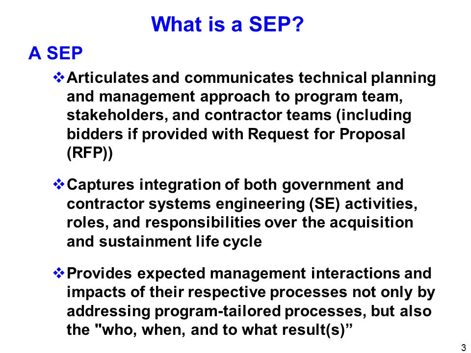 What is a SEP A SEP.