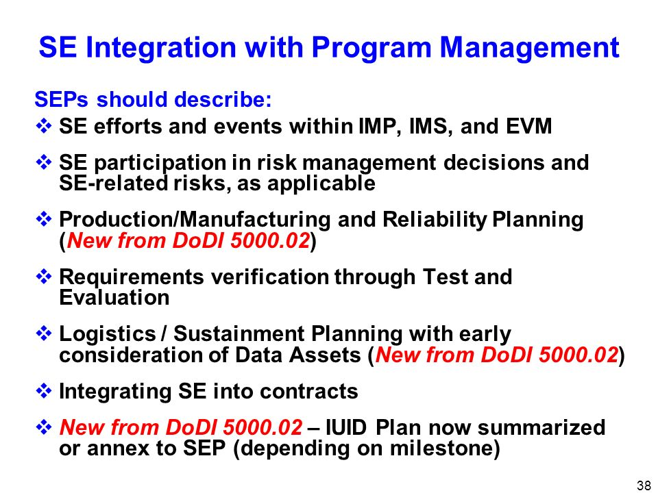 SE Integration with Program Management