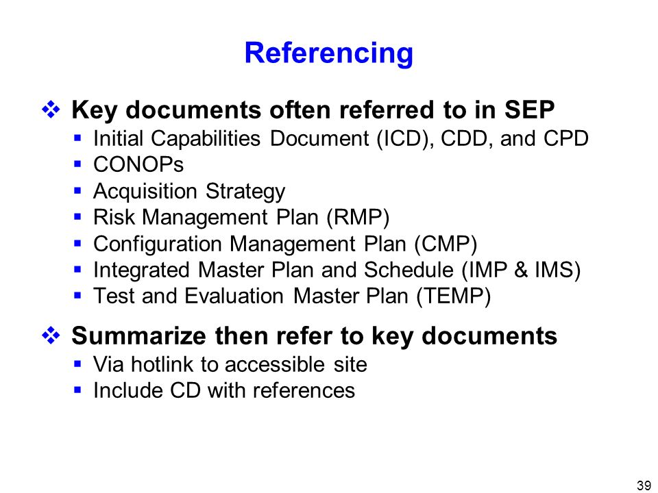 Referencing Key documents often referred to in SEP