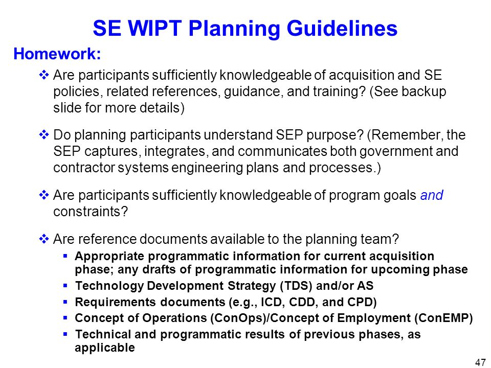SE WIPT Planning Guidelines