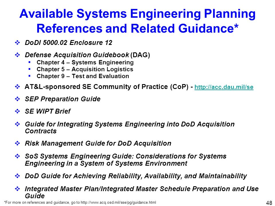 Available Systems Engineering Planning References and Related Guidance*