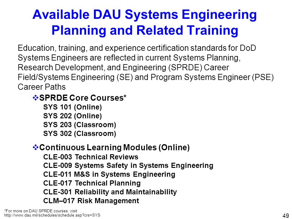 Available DAU Systems Engineering Planning and Related Training