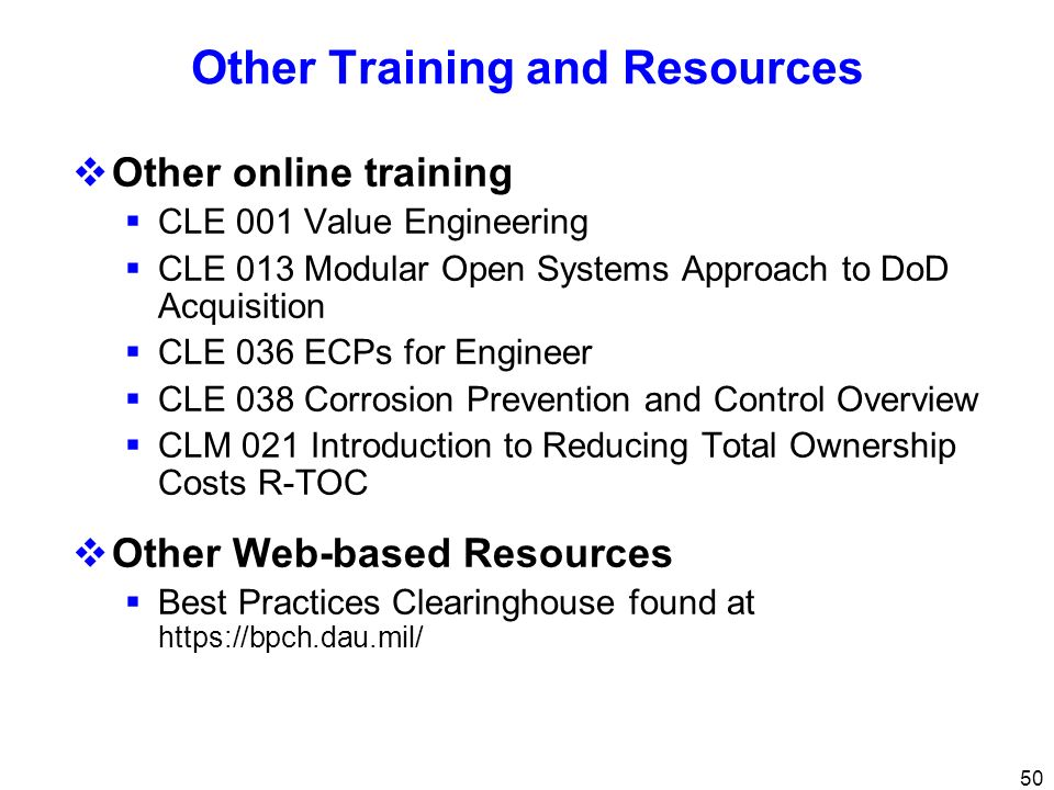 Other Training and Resources