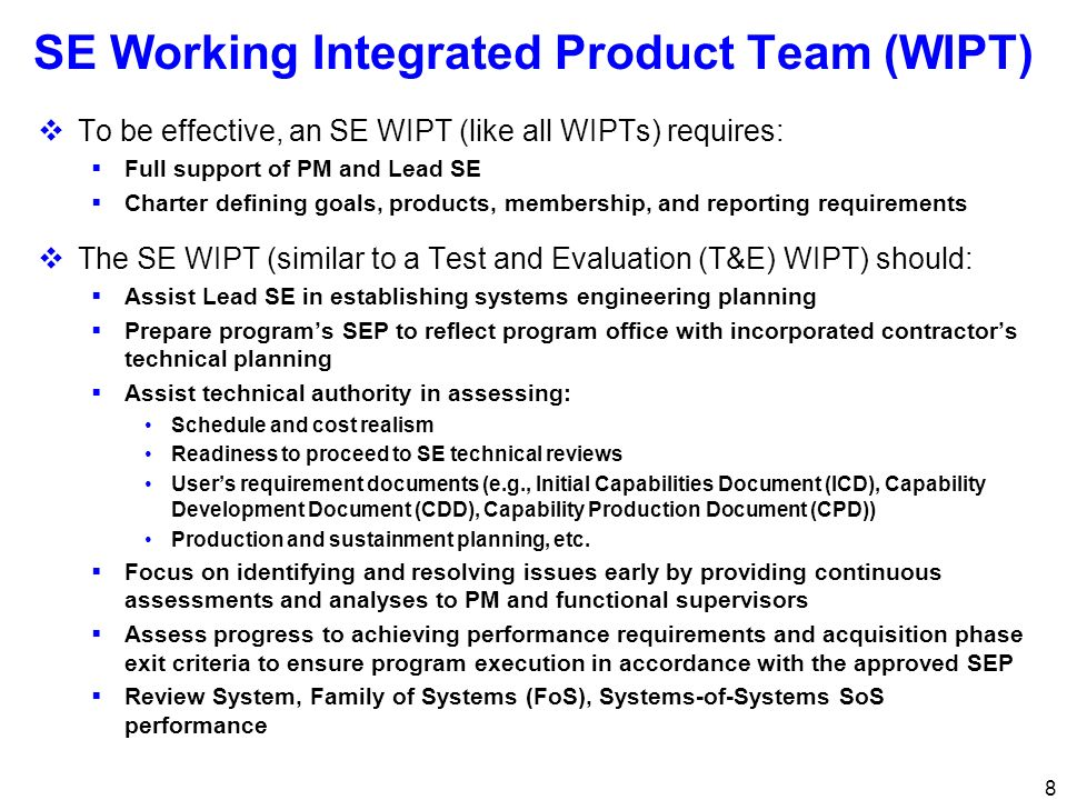 SE Working Integrated Product Team (WIPT)