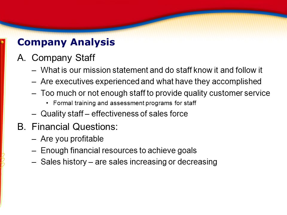 Company Analysis Company Staff Financial Questions: