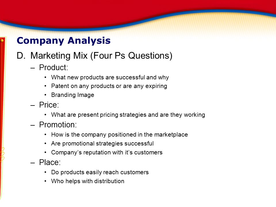 Marketing Mix (Four Ps Questions)