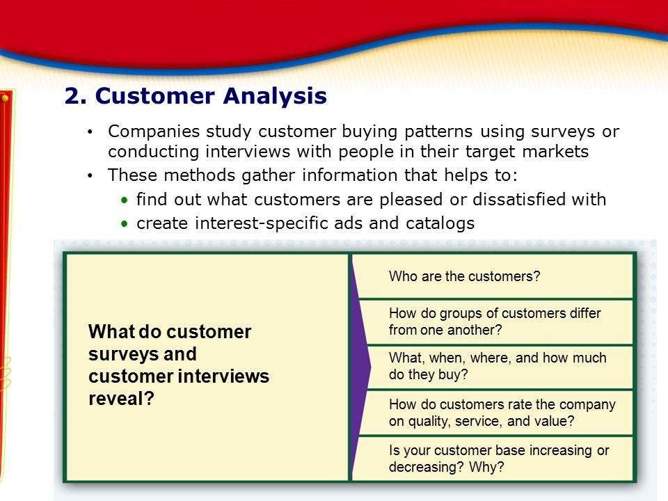 2. Customer Analysis Companies study customer buying patterns using surveys or conducting interviews with people in their target markets.