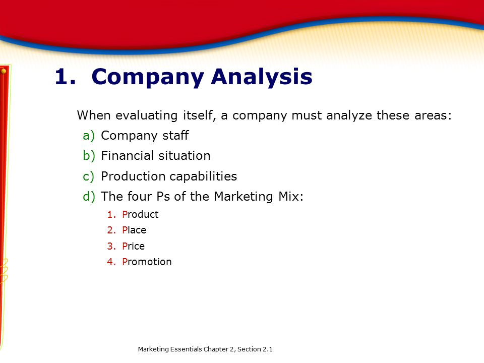 1. Company Analysis When evaluating itself, a company must analyze these areas: Company staff. Financial situation.