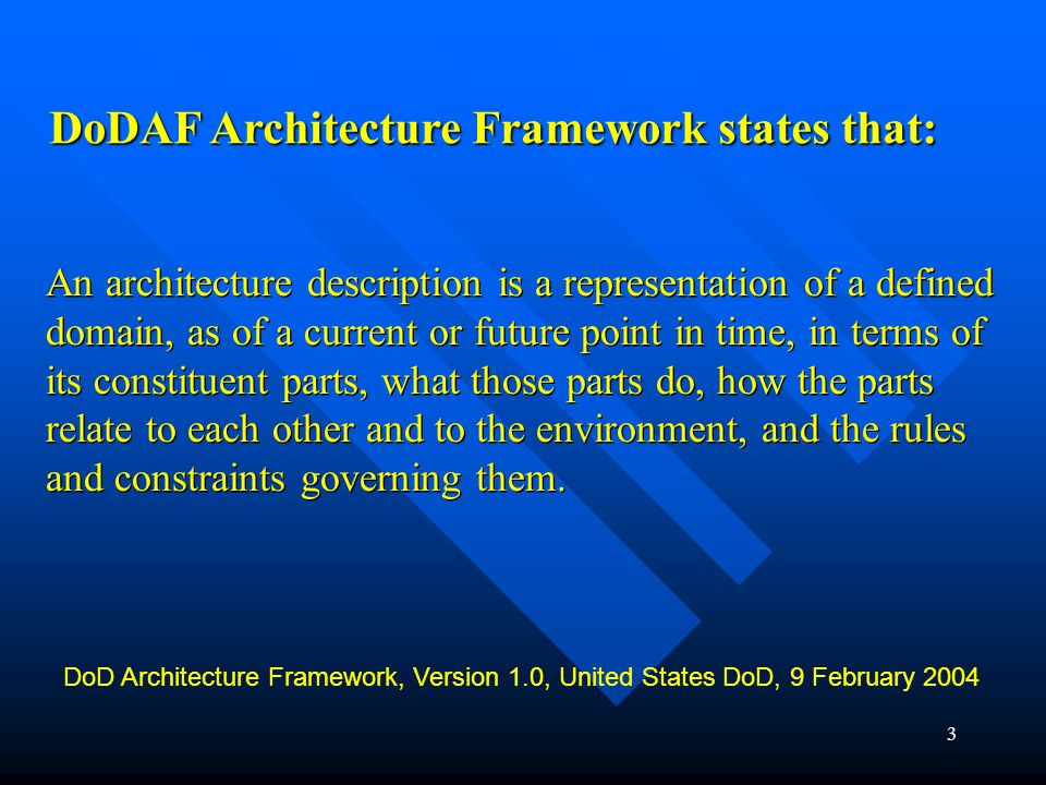 DoDAF Architecture Framework states that: