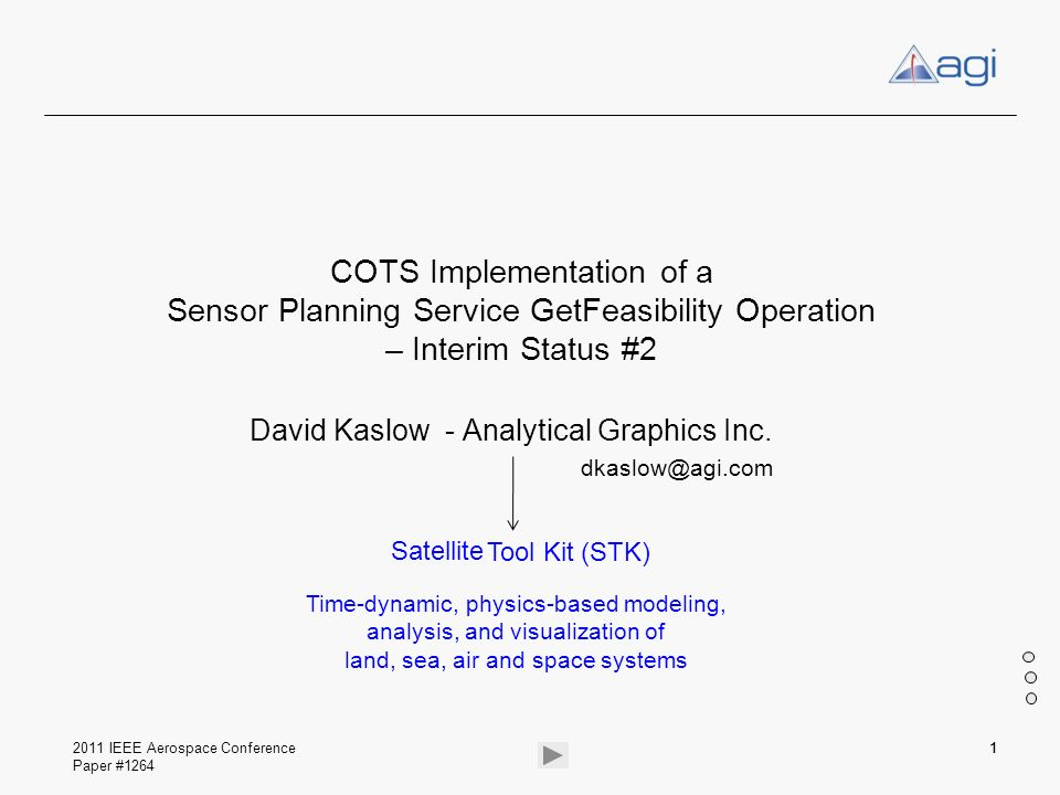 David Kaslow - Analytical Graphics Inc. dkaslow@agi.com