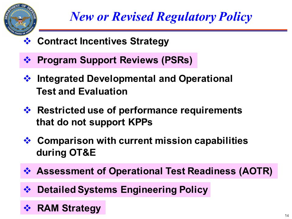 New or Revised Regulatory Policy