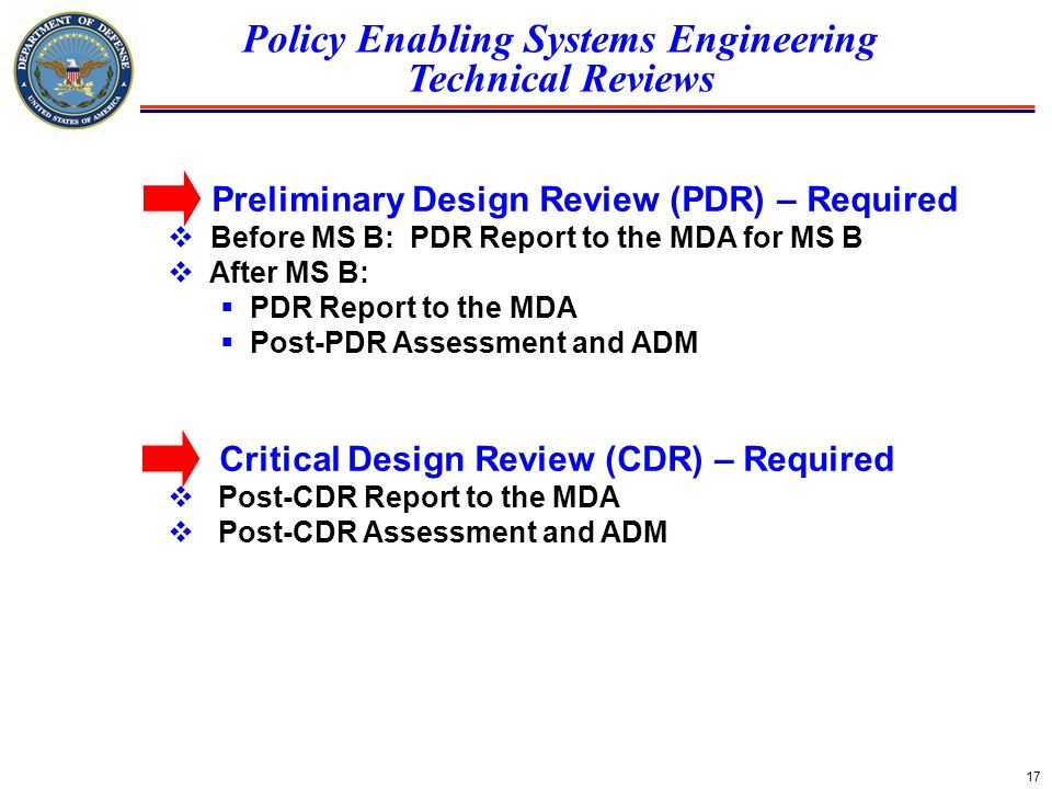 Policy Enabling Systems Engineering Technical Reviews