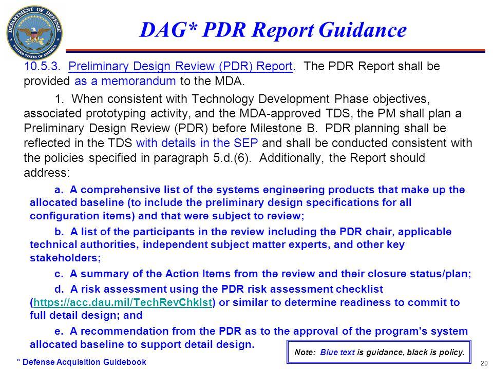DAG* PDR Report Guidance