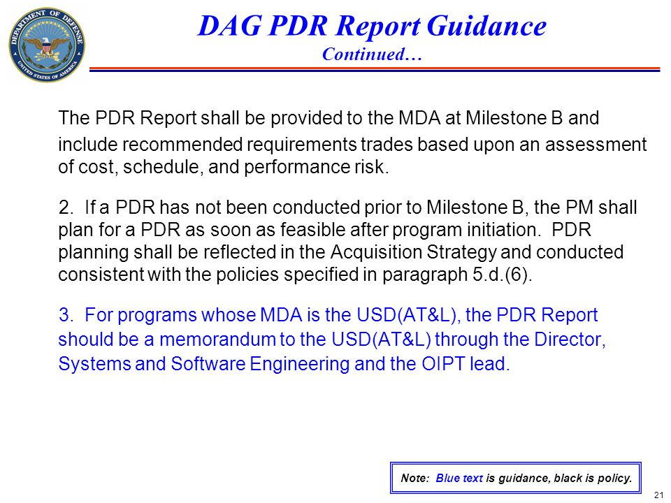 DAG PDR Report Guidance Continued…