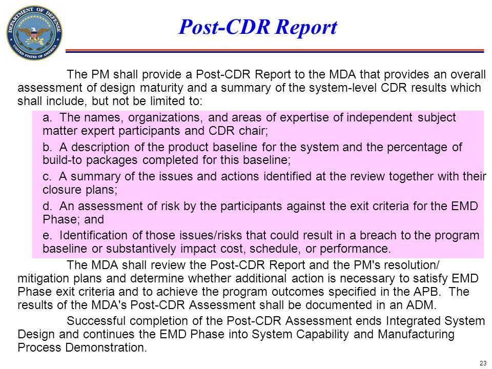 Post-CDR Report
