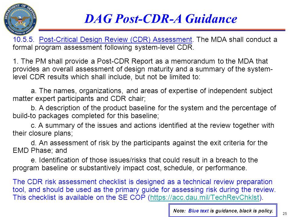 DAG Post-CDR-A Guidance