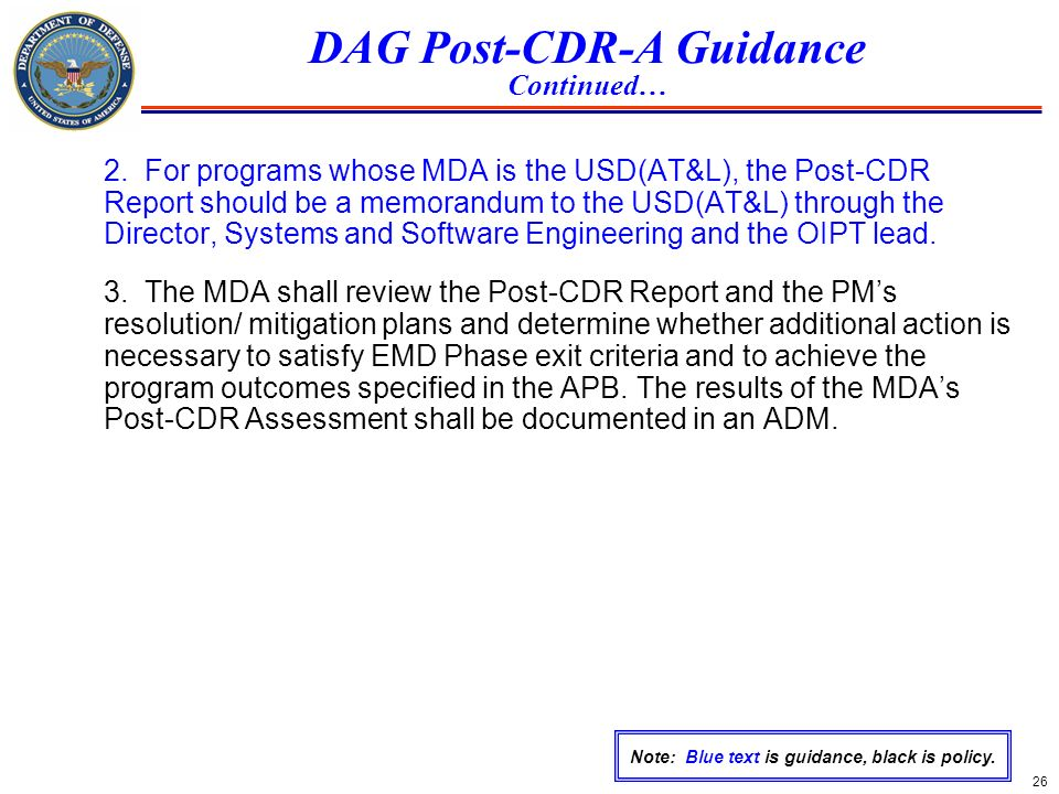 DAG Post-CDR-A Guidance Continued…