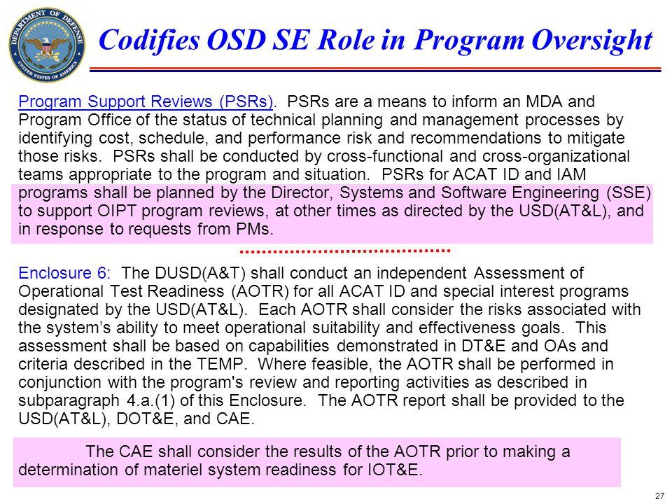 Codifies OSD SE Role in Program Oversight