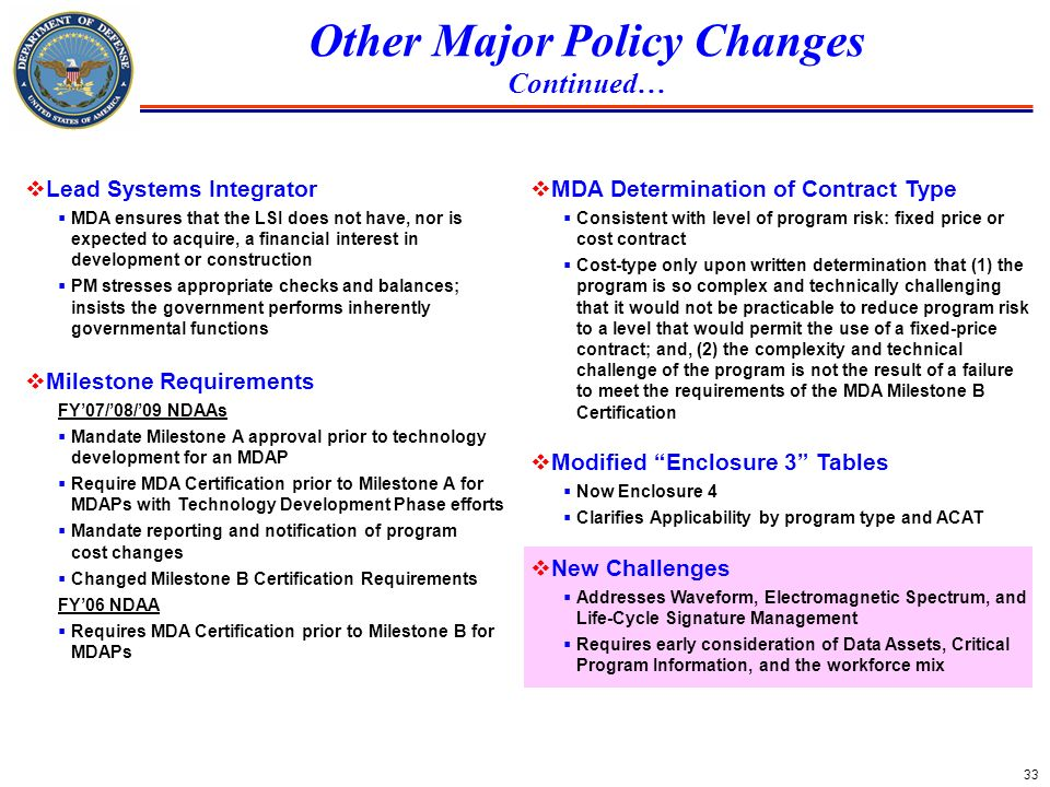 Other Major Policy Changes Continued…