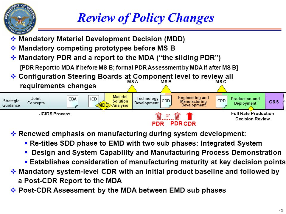 Review of Policy Changes Engineering and Manufacturing Development