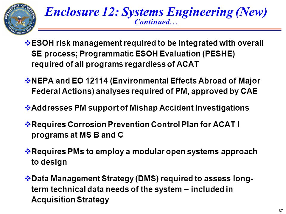 Enclosure 12: Systems Engineering (New)