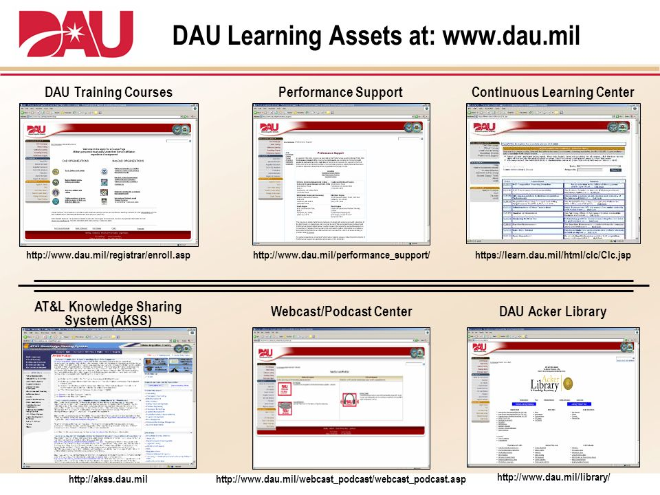 DAU Learning Assets at: www.dau.mil