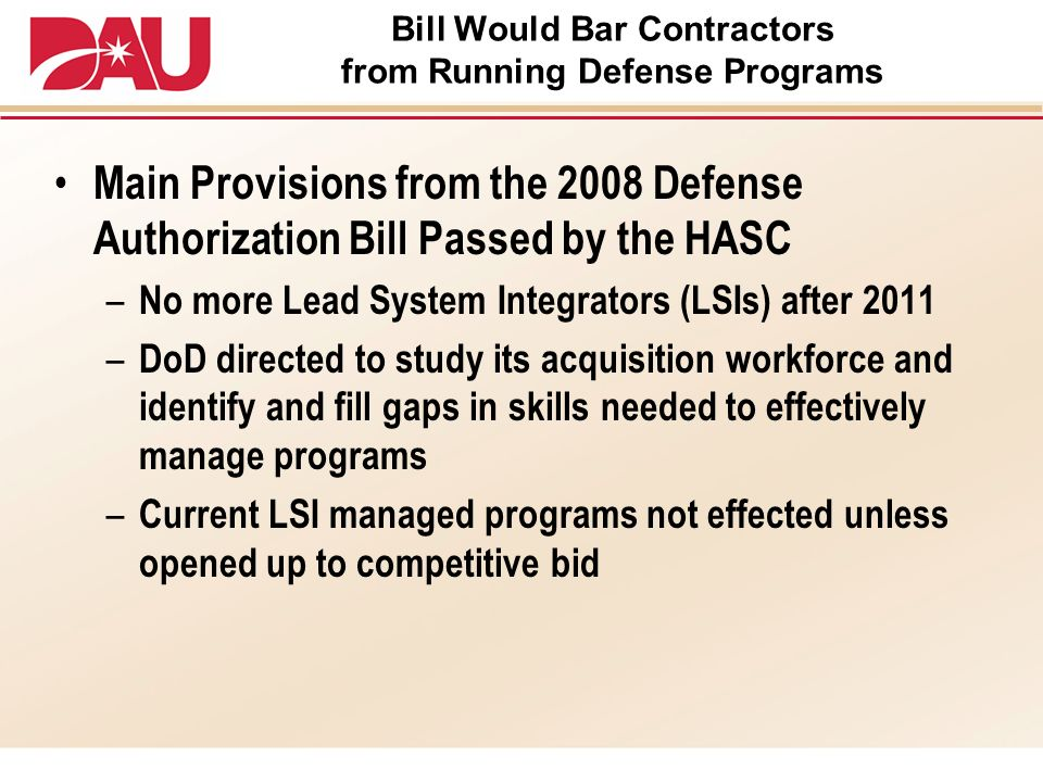 Bill Would Bar Contractors from Running Defense Programs