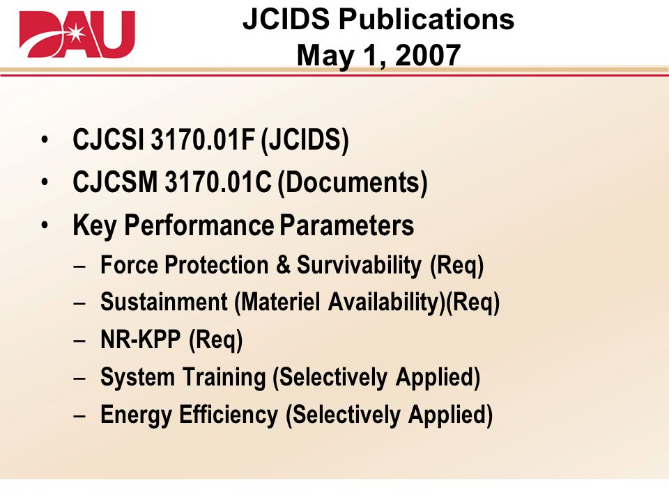 JCIDS Publications May 1, 2007