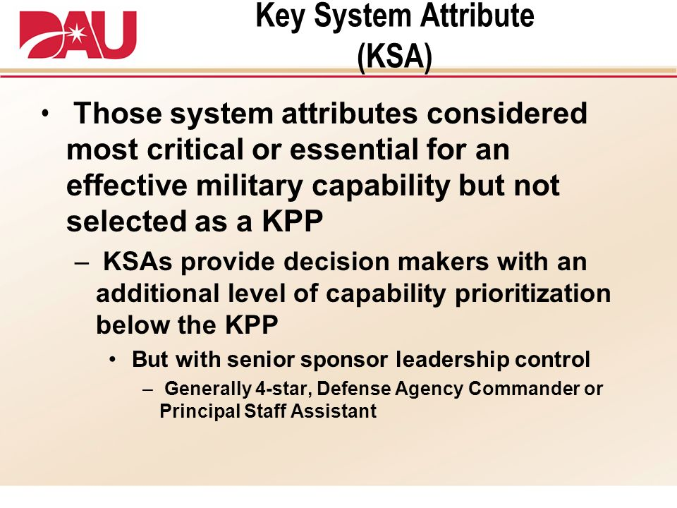 Key System Attribute (KSA)