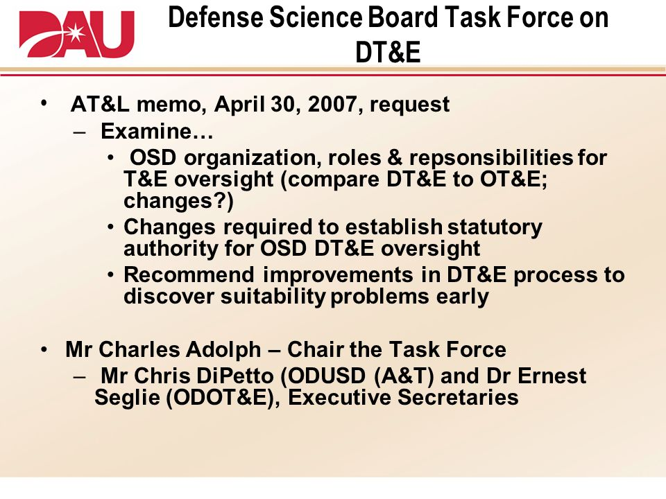 Defense Science Board Task Force on DT&E