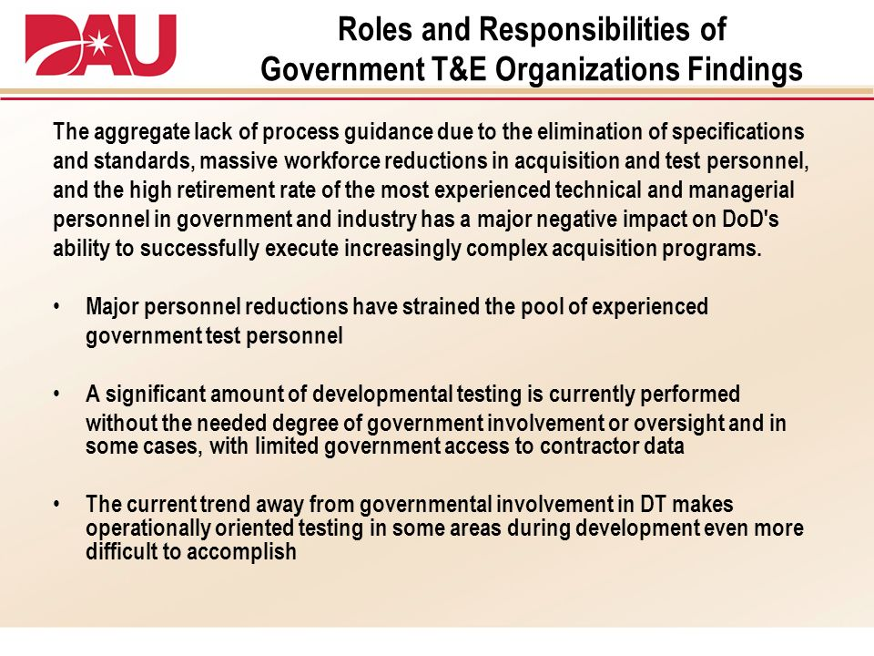 Roles and Responsibilities of Government T&E Organizations Findings