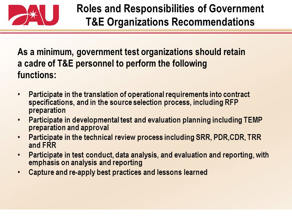 Roles and Responsibilities of Government T&E Organizations Recommendations